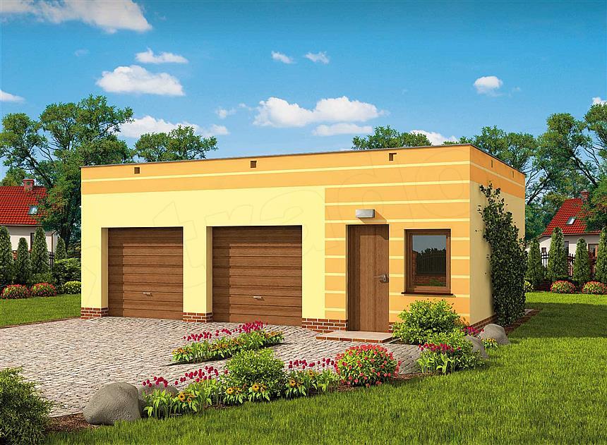 Projekt G85a Garaż Dwustanowiskowy Z Pomieszczeniem Gospodarczym