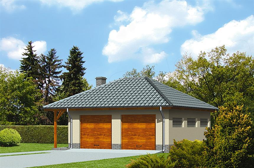 Projekt Murator Gc21 Garaż Z Pomieszczeniem Gospodarczym I Wiatą